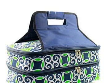 Monogrammed Casserole Carrier - Navy & Green Geometric Pattern - Tailgate Bag - Shower Gift - Wedding Gift - Personalized Gift
