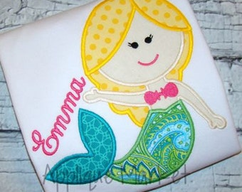 Mermaid Applique shirt - Summer Applique Design - Girl's shirt - Monogram or Name included