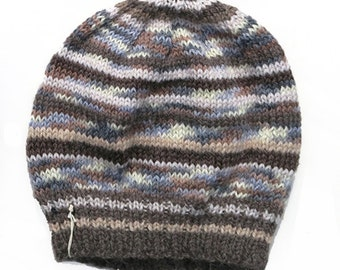 Mens Unisex Knitted Green Blue White Winter Wool Beanie. Size - ADULT . Handmade  . A Great Gift Idea . Made in Australia .