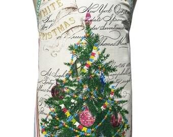 Metro Retro 'White Christmas' Xmas Tree - Tea Towel Apron .  Womens Kitchen HANDMADE  . Christmas  Gift Idea . Upcycled