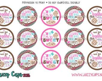 Cute Milk and Cookies 1' Bottle Cap Images -- digital download