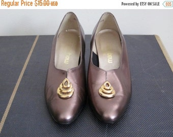 Magdesians / Magdesians Shoes / 80s Shoes / Granny Shoes / Leather Shoes Women / 8 / Block Heel / Comfortable Shoes / Bronze Shoes