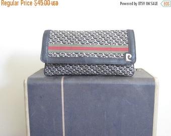 Pierre Cardin / Pierre Cardin Bag / Pierre Cardin Clutch / 70s bag / Designer Clutch / Logo / Leather Trim / French / Gucci Stripe / Navy