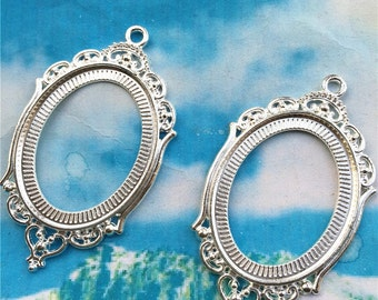 10pcs 40x30mm(cabochon size) silver plated oval cabochon/cameo/photo holder base setting pendants