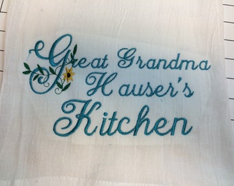 personalized Kitchen flour sack  towel, great grandma gift, kitchen decor, monogrammed towel, dish towel, Mother's Day, easter or hostis gif