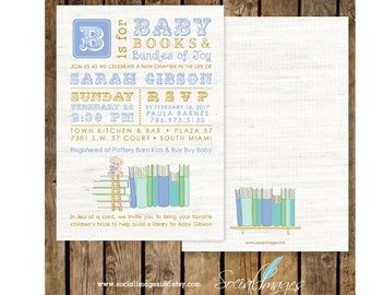 BOOK Theme BABY Shower Boy INVITATION Printed or Digital/Printable File