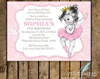 VINTAGE BALLERINA  Birthday INVITATION Printed or Digital/Printable File