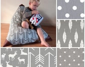 Choose Your Fabric! Kids Bean Bag - Pouf - Grey and White - Printed Canvas and Leatherette Child Seat