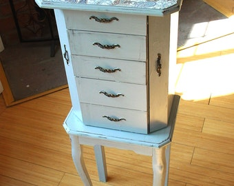 Hand painted Beautiful  Large French Grey Wooden Jewelry Box / Jewelry Armoire / Chest