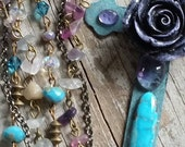 Turquoise Patina Cross Rosary Rustic Amethyst Gemstone Layered Necklace Bohemian Cabbage Rose Rainbow Flourite