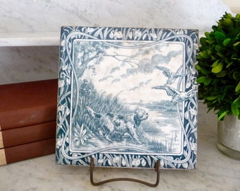 Vintage French Tile Trivet Plate Tray Green Transfer Ware Gien Transferware Dog Ironstone Earthenware Made in France