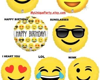 "Emoji Balloons 18"" Mylar Emoticons Smiley, Love, Happy Birthday, Sunglasses, I Heart You, Wink Emoticon 18"" Mylar Helium or Air Photo Prop"