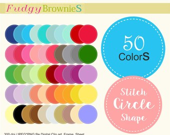 ON SALE Digital circle Label,stitch circle tag clipart,scrapbook tag clipart, circle label.L-32 , tags clipart,lable clipart