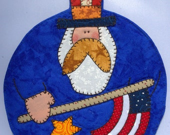 4th of July Uncle Sam Mug Rug