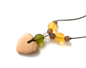Aphrodite Teething Necklace - Nursing Necklace - Breastfeeding Necklace - Juniper Heart - Autumnals - Mustard, Brown, Grey, Olive Green