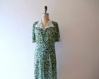 1930s 1940s dress . vintage 30s 40s green dress