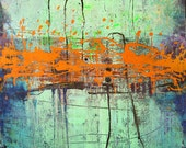 "Special Listing for Al.   Orange Interruption 36''x24'' Acrylic on Canvas and Orange Abstract Landscape 36""x 24"""