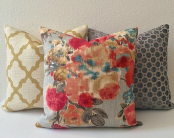 Gray, red, blue multicolor watercolor floral decorative pillow cover