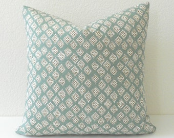 Double sided, Seafoam blue green, gray  and tan moroccan quatrefoil decorative throw pillow cover