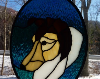 Stained Glass Dog Panel-Collie/Sheltie