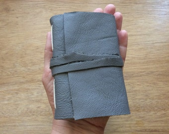 Mini Grey Leather Pocket Journal-Notebook-Travel Journal-Gift Idea-Handmade-Sketch Book