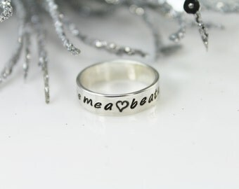 Sterling Silver 5mm Ring with Outside Stamping Only- Hand Stamped Rings- Mommy Ring- Mommy Jewelry
