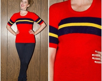SALE Vintage 70s 80s 90s Hipster Club Kid Raver Red Blue Yellow Stripe Sweater Ringer Preppy Sporty Primary Color Short Sleeve Shirt S