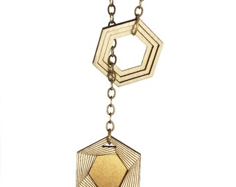 AMULET | hexagon lariat necklace, laser cut wood and brass necklace
