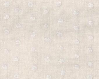 Nani Iro Pocho Fluff, white on natural, cotton double gauze fabric, by the yard