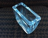 Vintage Scandinavian geometric Modernist Body ICE blue lead crystal glass Vase High quality Strombergshyttan Sweden