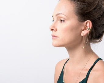 EAR CUFF, Gold Drop Charms Ear Cuff - Extra Earring With Chain And Drop Charms,Christmas SALE