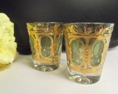 Sale- SPECTACULAR Mint Vintage SET Green & Gold Decorated Culver Heavy SHOT Glasses- Birthday Gift Him Her Dad Father Boyfriend Husband Man