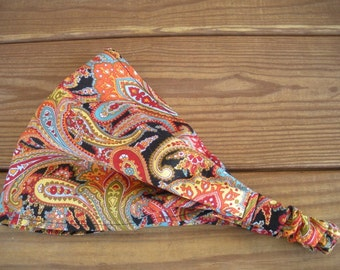 Fabric Headband Womens Headband Spring Fashion Accessories Women Headwrap in Black with Multicolor Red Gold Paisley print