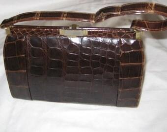 1960s Vintage Brown Alligator Purse