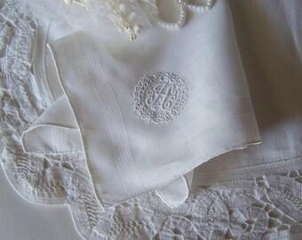 Bridal Shower Gift Vintage Wedding Handkerchief Monogrammed H Bride's Antique Hanky in White Something Old Wedding Keepsake