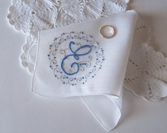 Vintage Monogrammed E in Blue Embroidery on Cream Handkerchief Bride's Wedding Hanky Something Old and Something Blue