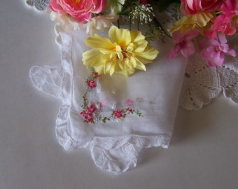 Wedding Shower Gift, Lace Wedding Hanky with Pink Roses and a Touch of Blue, Victorian Style Vintage Handkerchief Something Old