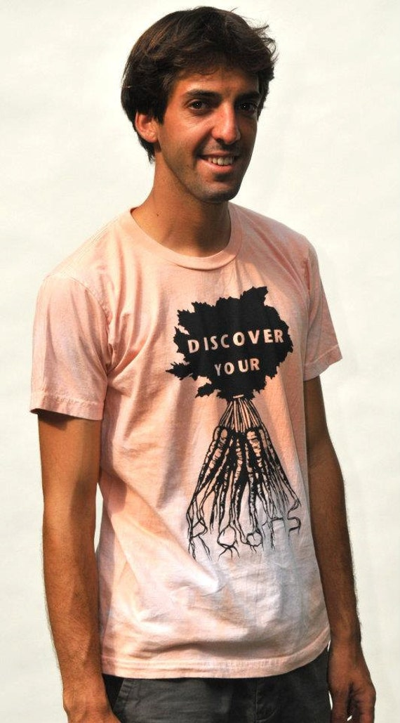 Graphic Tee Discover Your Roots Screen Print Tshirt on American Apparel Mens