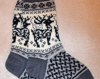 Wool Socks, Norwegian Scandinavian folk art, hand crafted 100% Wool, Fair Isle Reindeer, size Medium  Large