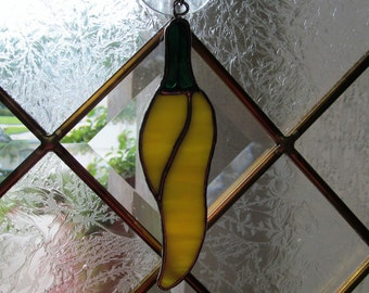 "Stained Glass Vivid ""Yellow Chili Pepper""  Suncatcher/Holiday Ornament/Package Embellishment"