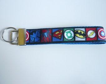 Marvel Comics Superheroes Keyfob / Keyring / Wristlet - Captain America, Batman, Flash, Superman, Spiderman, Green Lantern, Nightwing