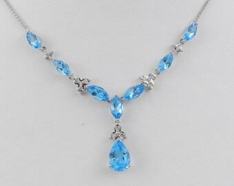 "3.60 ct Diamond and Blue Topaz Lariat Necklace Pendant 17"" White Gold Chain"