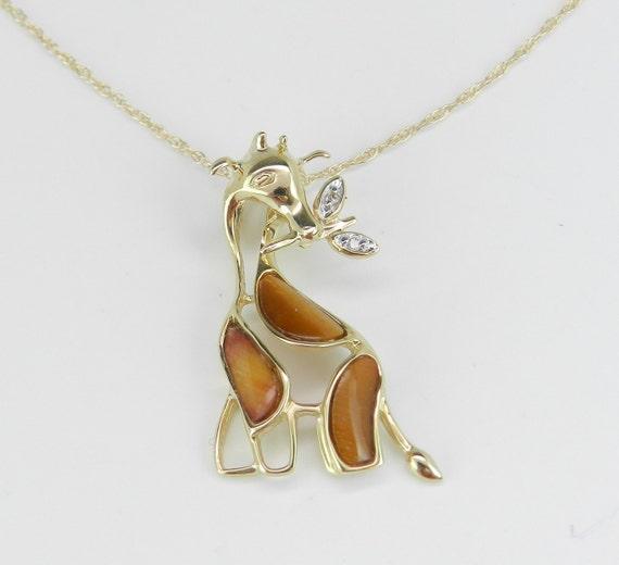 "Diamond and Tiger Eye GIRAFFE Pendant Necklace 18"" Chain Yellow Gold Unique Gift"