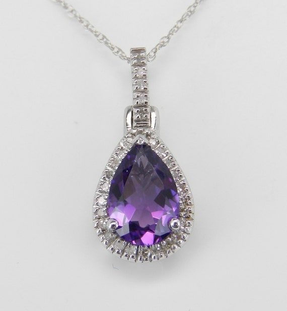 "Diamond and Pear Amethyst Halo Pendant Necklace White Gold 18"" Chain February Gem"
