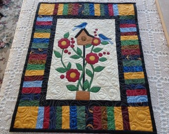 Spring Quilt, Spring Bluebirds and Berries, Country Wall Quilt, 0209-02