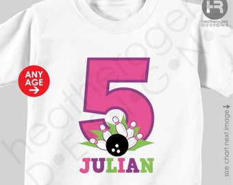 Bowling Birthday Shirt or Bodysuit - Girls Personalized Birthday Shirt with child's age and name