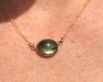 Labradorite Gold Bezel Necklace