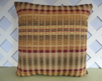 Plaid Pillow Cover / Green Gold Burgundy Pillow / Silky Pillow / Accent Pillow / Decorative Pillow / 18 x 18 Pillow