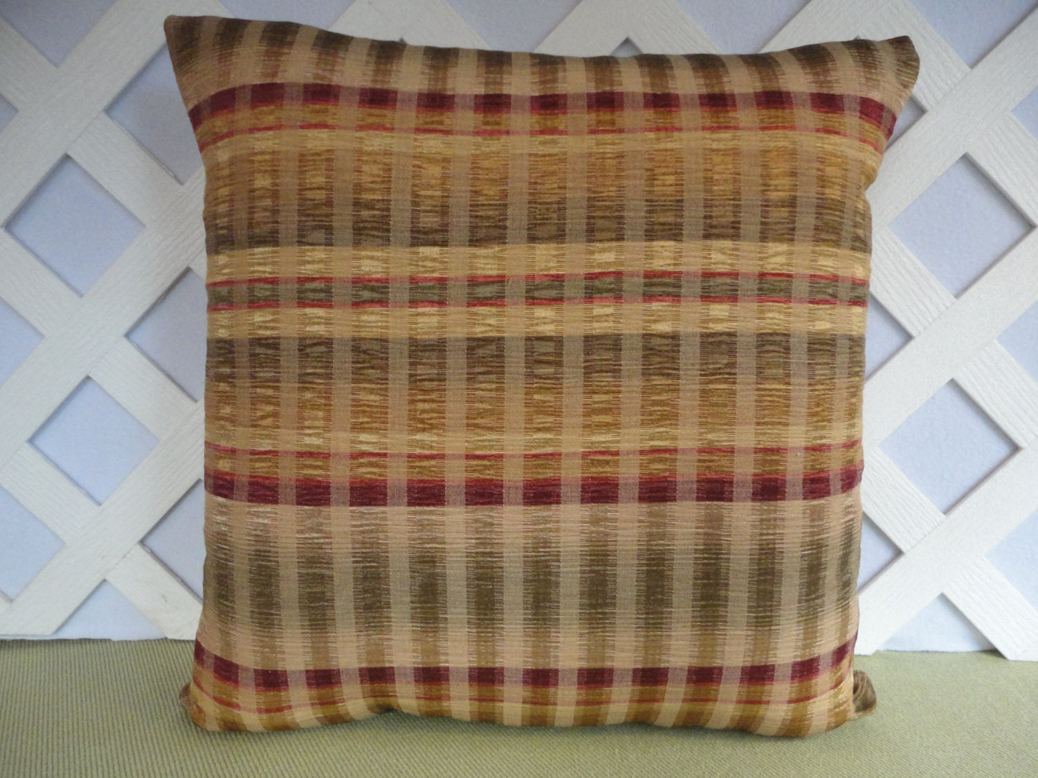 Plaid Pillow Cover / Green Gold Burgundy Pillow / Silky Pillow