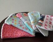 Baby Girl Washcloths - Fox - Woodland - Pink and Navy - Washcloth Set - Wash Cloths